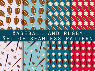 Bat and ball. Baseball and rugby. Set of seamless patterns. For wallpaper, bed linen, tiles, fabrics, backgrounds. Vector illustration.