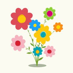Retro Flat Design Flowers Vector Illustration