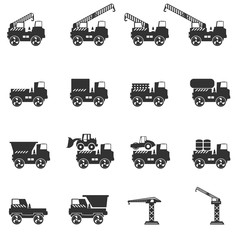 Truck icon set. Vector silhouettes