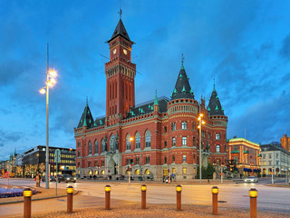 City Hall of Helsingborg in the evening, Sweden