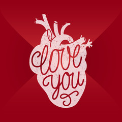 love you human heart lettering. envelope background.