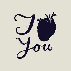 i love you black and white sign. real human heart sign.