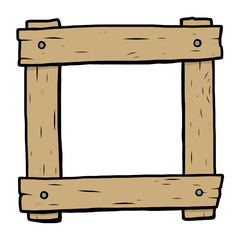 wooden frame / cartoon vector and illustration, hand drawn style, isolated on white background.