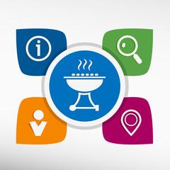 Barbecue grill color icon