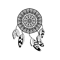 Hand drawn vector dreamcatcher with feathers. Black and white vector illustrations isolated on white. Boho style design element
