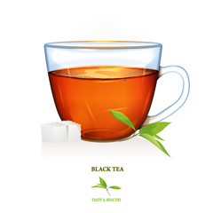 Black Tea illustration. Vector. Beautiful illustration of black tea cup with tea leaves and two peaces of sugar. Glass cup.