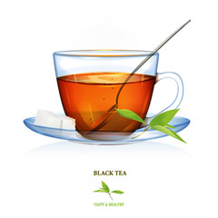 Black Tea illustration. Vector. Beautiful illustration of black tea cup with tea leaves, tea spoon and two peaces of sugar. Glass cup.