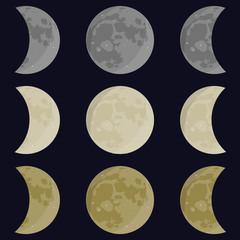 Moon. Moon phases. Moon vector. Yellow, gray, white moon. Full, half moon.