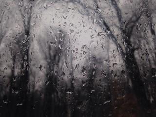 raindrops at window in winter