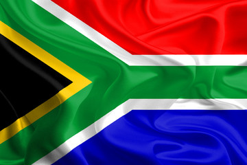 Waving Fabric Flag of South Africa