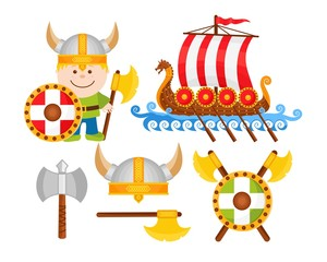 Cartoon Viking Icon Set