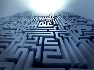 business man running into maze vector illustration - Buy