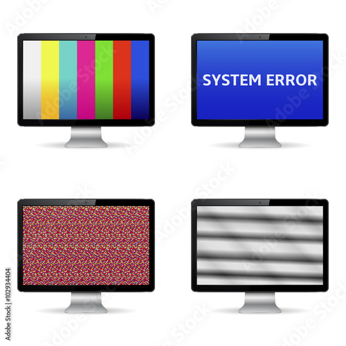 No signal, system error message and test image on computer