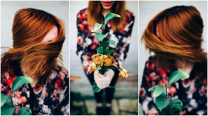 Redhead Woman with Flowers