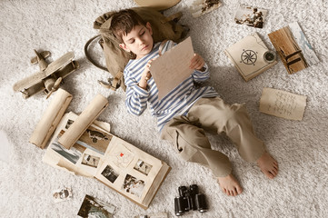 Boy in image traveler play in his room