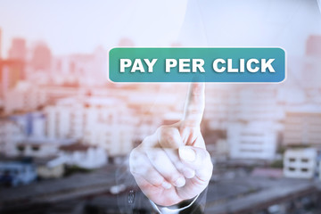 Businessman hand touch screen graph on PAY PER CLICK. Can be used for your ad.