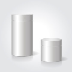 Realistic blank white package box mock up to advertise goods. Cylindrical container.
