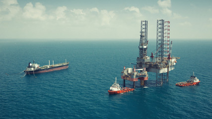 Offshore oil rig drilling platform in the gulf of Thailand(color tone)