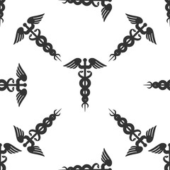 Caduceus medical symbol with long shadow (emblem for drugstore o