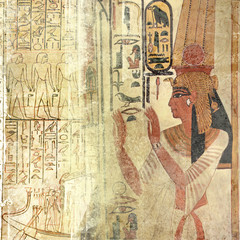 Sand-beige ancien Egypt wallpaper with queen nefertari and hieroglyphics