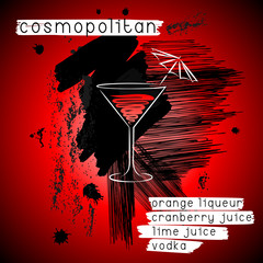 Cosmopolitan cocktail in grunge style.