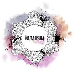 Round template with abstract ornamental border drawn with a black pen, ink splashes and watercolor background. Vector design element.
