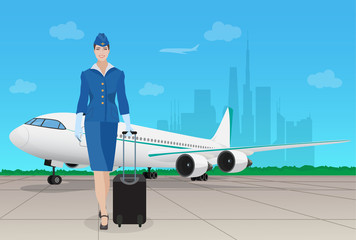 Stewardess in uniform near airplane in airport. Vector illustration