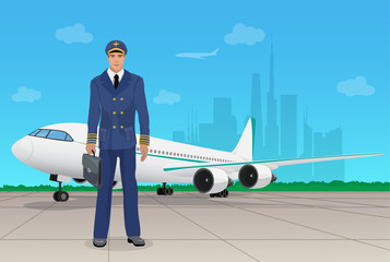 Pilot in uniform near airplane in airport. Vector illustration.