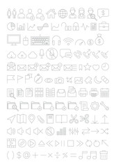 Web icons set line thin style. Vector illustration.
