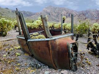 Vintage old antique car body outdoors - landscape color photo
