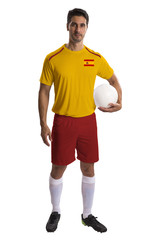 Spanish soccer player holding ball on white background