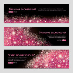 Pink and red banner on glitter background