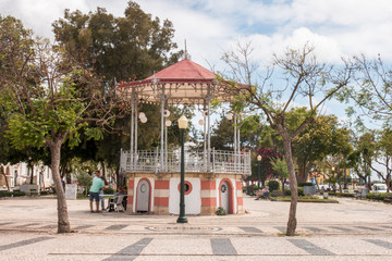 View of the beautiful bandstand located in the Garden Manuel Bivar, in Faro, Portugal.