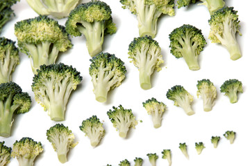 Close view of a bunch of broccoli vegetables aligned in a perfect way.
