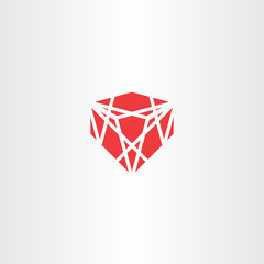 red crystal stone gem vector icon