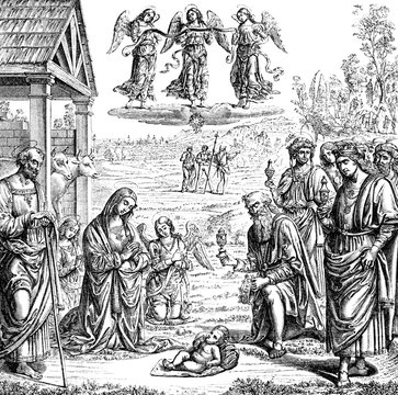 An engraved vintage illustration of The Adoration of the Magi at the Nativity from a Victorian book dated 1883 that is no longer in copyright