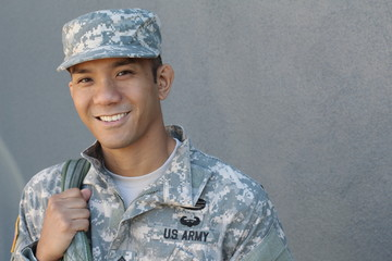 Military Asian army man with copy space on the right