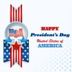 President's Day, abstract computer graphic background with flag and stars; Holidays, layout, template with blue, white and red stars and national flag colors for American President's Day