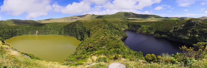 Lagoa Funda and Lagoa Comprida twin lakes on Flores island, Azores archipelago