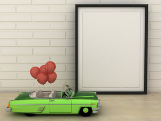 Empty picture frame with old vintage miniature green cabriolet, convertible car carrying a red balloons. Love, birthday and celebration concept. Copy paste image or text.