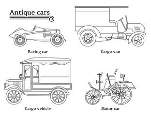Set of vintage cars. Vector