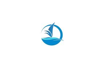sailing boat wave ocean logo