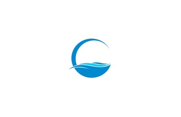 wave ocean icon logo vector