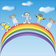 Aluminium Prints Rainbow Children ride on a rainbow. Vector illustration.
