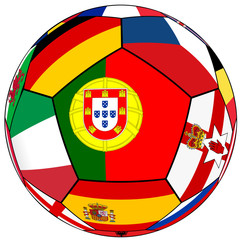Ball with flag of Portugal in the center - vector