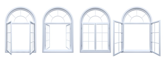Collection of isolated white arched windows