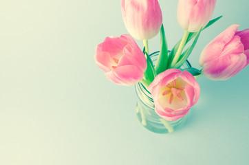 Beautiful pink tulips in jar