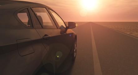 Schwarzes Auto auf einsamer Wüstenstraße