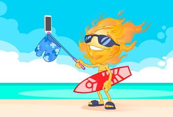 Sun Summer Boy Fire Head Taking Selfie Smart Phone Stick Hold Surfboard On Beach