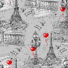 Paris. Vintage seamless pattern  3